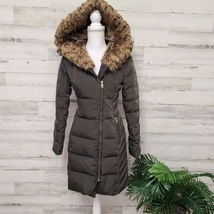 Cole Haan Signature Fur Down Feather Puffer Coat